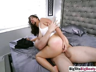 Brunette big ass milf spanked hard by big cock neighbor who fucked her big titty body with a massive dick