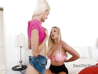 Huge tits step mom dominates lesbian teen