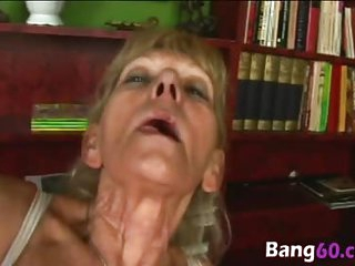 Stud drills granny's hairy cunt