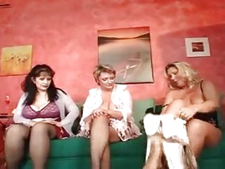 A group of mature old milfs fucking in an orgy in the beauty salon with massive saggy tits