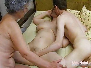 OmaHoteL Old Threesome Hairy Mature Masturbation