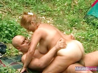 Blonde Big Busty Mature Ol Granny Fucked Outdoors