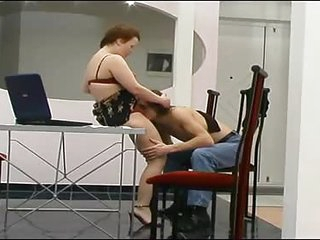 Young stud goes down on her mature pussy...